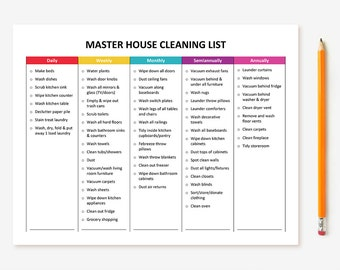 printable monthly cleaning checklist etsy