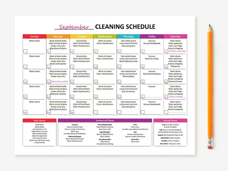 picture about Cleaning Schedule Printable named Printable Month to month Cleansing Agenda