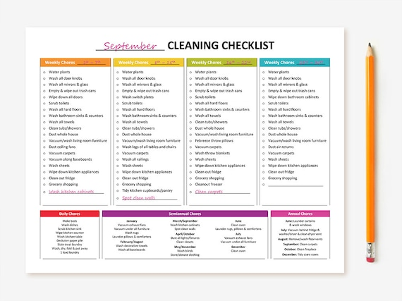 Full House Cleaning Schedule