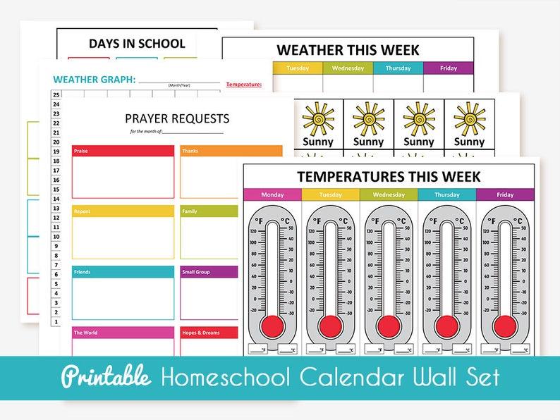 image relating to Homeschool Calendar Printable named Printable Homeschool Calendar Wall Fastened