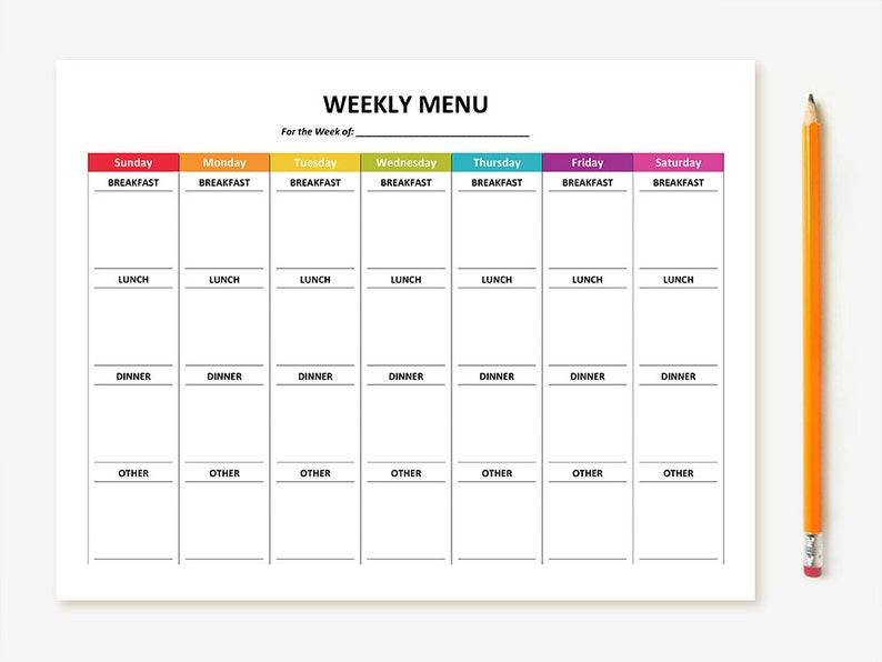 photograph about Printable Weekly Menu titled Printable Weekly Menu Planner