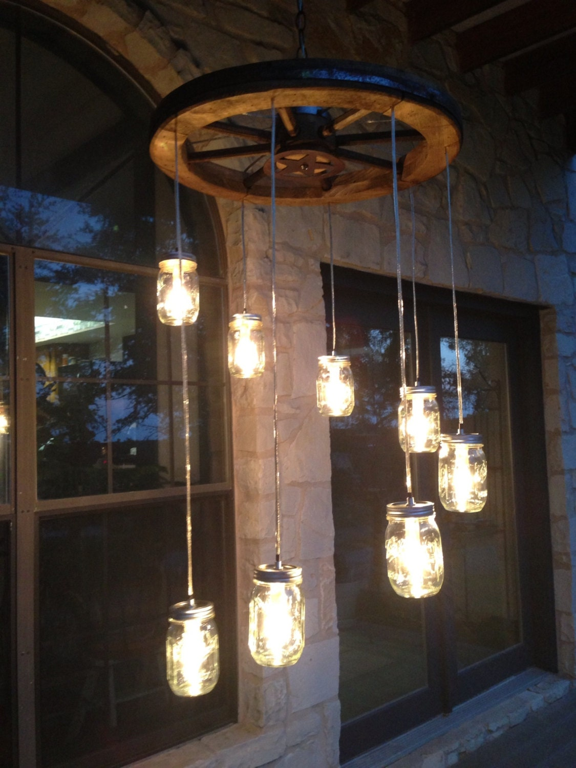 Spiral Wagon Wheel Mason Jar Chandelier Small Etsy