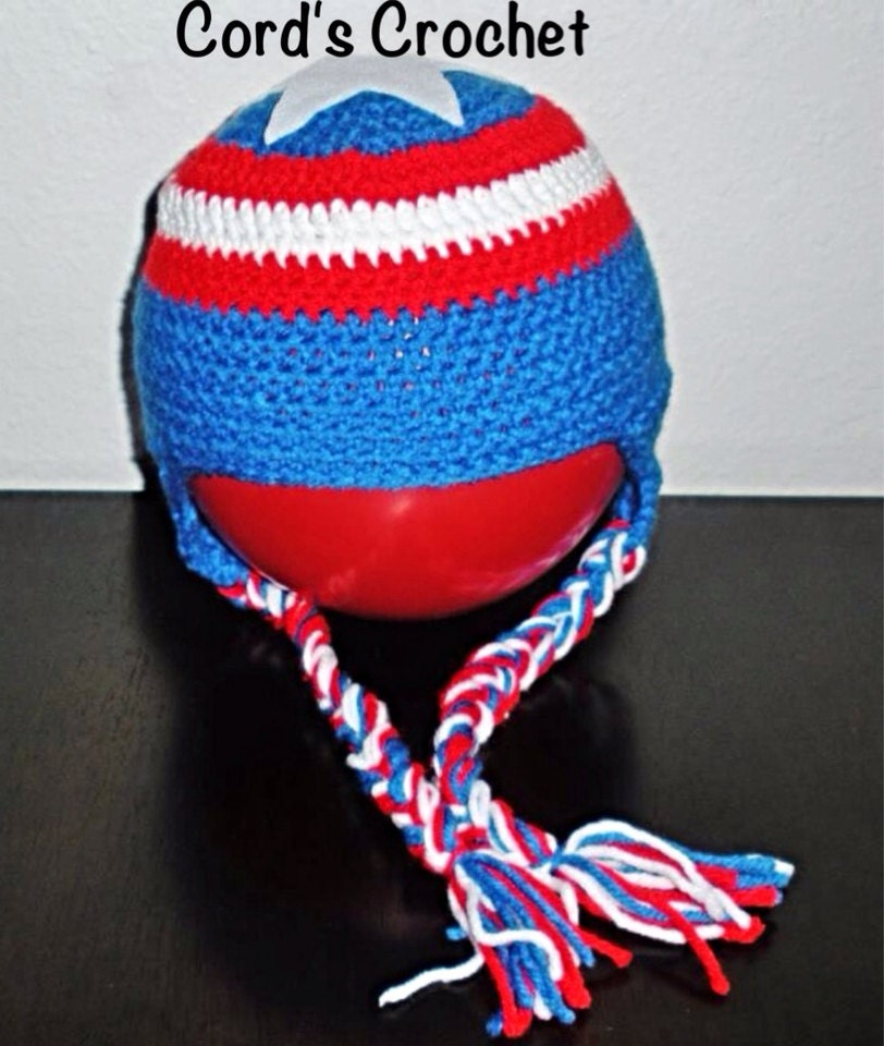 Captain American Shield Crochet Hat Etsy