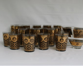 Vintage Mid Century Prudential Insurance Rock of Gibraltar Black and 22 Karat Gold Collectible Barware Glasses and Serving Bowls
