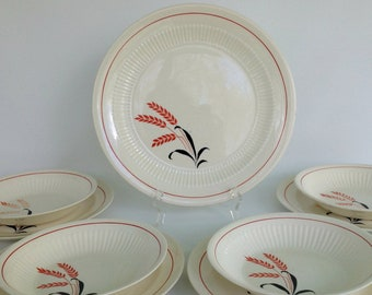 Retro 1950's Red and Black Wheat Pattern Dinnerware Dish Set, 9 Piece Vintage Dish Set by Royal China Sebring Ohio Pottery Company