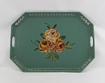 Vintage Tole Toleware Decorative Tray, Tole Tray Hand Painted Flowers, Bohemian Shabby Chic Decor, French Farmhouse
