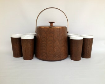 Mid Century Ice Bucket and Insulated Tumblers, Vintage 7 Piece Barware Set, Vintage Faux Wood Drinkware, West Bend Thermo-Serv, Inc.