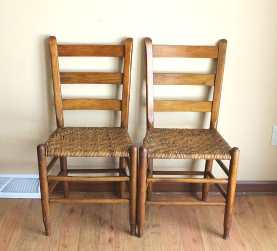 50 - Ladder Back Shaker Style Pair Of Chairs Antique Ladder Slat Etsy