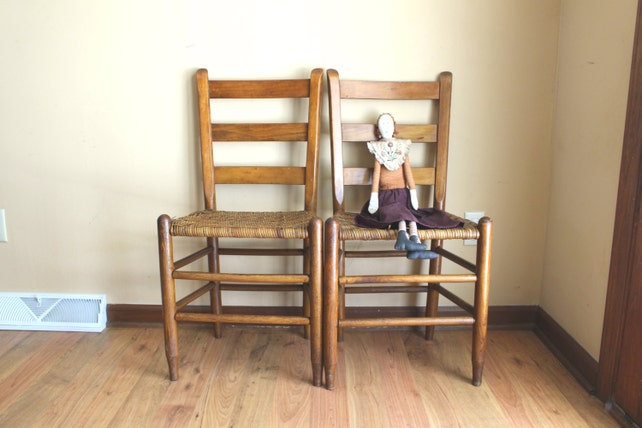 image 0 - Ladder Back Shaker Style Pair Of Chairs Antique Ladder Slat Etsy