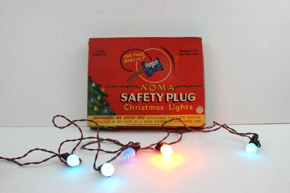image 0 - Vintage 15 Noma Multi Color Christmas Tree Lights With Safety Etsy
