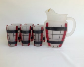 1950s Black and Red Pitcher and Tumbler Glass Retro Beverage Barware Set, Washington Gay Fad Red and Black Pitcher and Tumbler Set