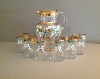 Antique Victorian Glass Water Pitcher and 6 Hand Blown Glass Tumblers Set, Hand Painted Enamel Lily of the Valley Flowers and Detailing