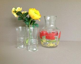 Anchor Hocking Juice Carafe, Vintage Swanky Glass Juice Pitcher Carafe, Retro Serving Glassware Decanter, Retro Kitchen