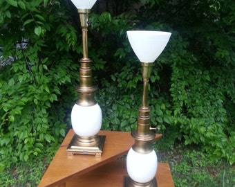 Milkglass and Brass Lamp, Vintage, Home Decor IT152