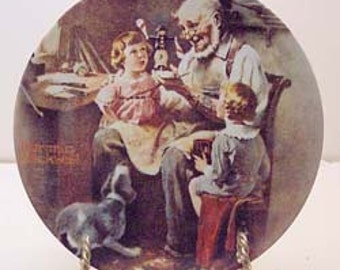 Norman Rockwell Plate, Vintage 1977, The Toy Maker, Knowles China Plate