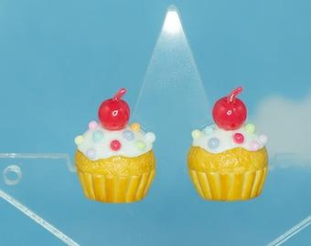 Rainbow cupcakes | Earrings | Sweet Lolita fashion | Fairy kei
