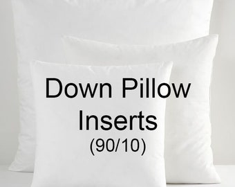 Down pillow inserts,  90/10 pillow inserts, 19x19 down inserts, 13x21 down inserts