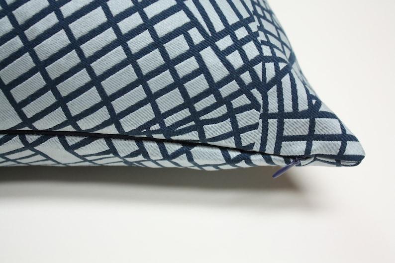 navy pillow cover Grid pillow luna textiles pillow cover blue grid pillow cover sunbrella pillow
