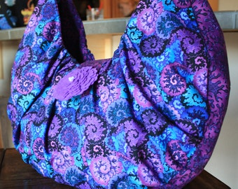 Purple and Teal Hobo Style Handbag=PRICE REDUCED
