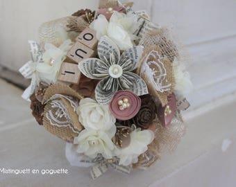 Bouquet de mariée  Léonie en papier et tissu