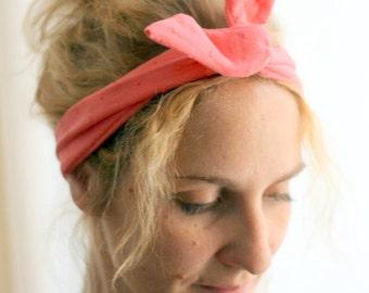 Bandeau retro-headband noeud broderie corail