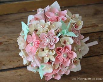Bouquet de mariée  en papier esprit japonais - couleurs personnalisables-