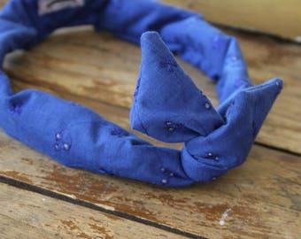 Bandeau retro - headband -noeud - Petite taille-enfant-bleu dentelle anglaise