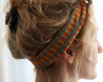 Bandeau retro-headband noeud motifs gouttes