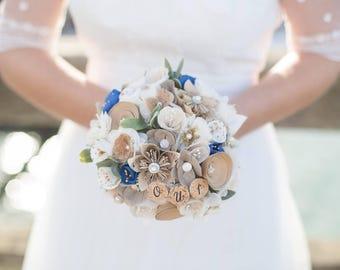 Bouquet de mariée  100 % personnalisable- papier et tissu-