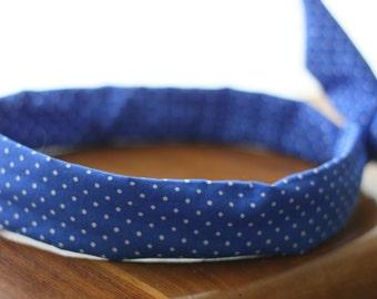 Bandeau retro-headband -bleu roi éléctrique à pois blancs