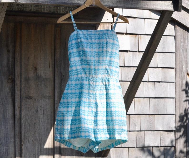 28ea4f57de0a Vintage ROSEMARIE REID Cotton Swimsuit Romper 1950s Blue and