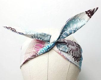 Tie-Dye print, Vintage Fabric Wired Headband, Floral Print Headscarf, Rockabilly Headband, Tie-Up Headband, Retro Hair-tie, Cotton Headband