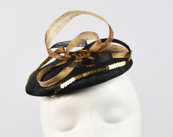 Black and Gold Pillbox Hat, Vintage Style, Ascot Hat, Sinamay Hat, Wedding Hat, Retro Pillbox Hat, Raceday Hat, Cocktail Hat, Sequinned Hat