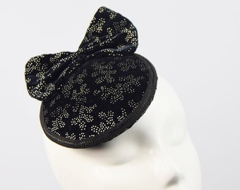 Black & Silver Speckled Cocktail Hat, Pillbox Hat, Fascinator Hat, Velvet Bow, Black Bow Hat, Vintage Style Hat, Retro Hat, Percher Hat