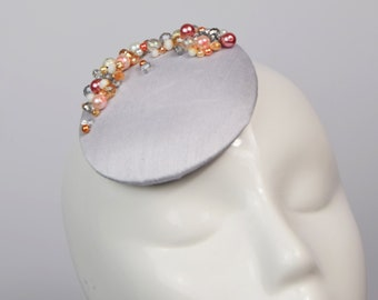 Pink Round Fascinator with Coral and Silver Beading, Beaded Cocktail Hat, Jewelled Fascinator Hat, Party Season Headwear, Formal Hat