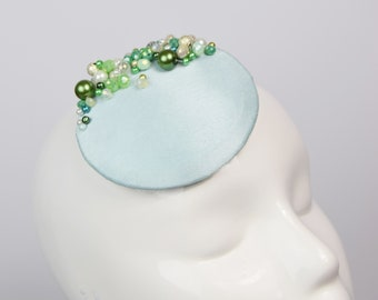 Green Round Fascinator with Green and Silver Beading, Beaded Cocktail Hat, Jewelled Fascinator Hat, Party Season Headwear, Formal Hat