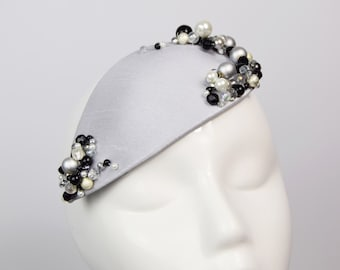 Silver Teardrop Fascinator with Black and White Beading, Beaded Cocktail Hat, Jewelled Fascinator Hat, Party Season Headwear, Formal Hat