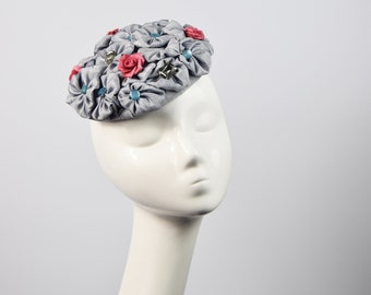 a7ea82554ff5c Blue and Red Floral Pillbox hat