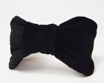 Turban Headband made from Jet Black Corduroy Fabric, Knotted Fabric Head Band, Boho Hair Band, Fabric Alice Band, Pin-Up Headband