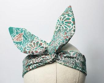 Green Print, Vintage Fabric Wired Headband, Batik Print Headscarf, Rockabilly Headband, Tie-Up Headband, Retro Hair-tie, Cotton Headband
