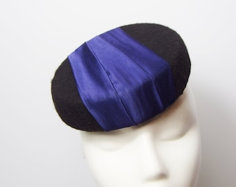 Percher Hat Hollywood Glamour Hat Retro Hat Party Hat Cocktail Hat Black Felt and Orange vintage inspired Pillbox Hat Black and Blue
