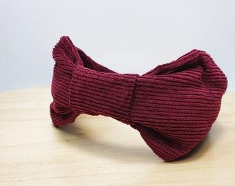 Turban Headband made from Wine Red Corduroy Fabric, Knotted Fabric Head Band, Boho Hair Band, Fabric Alice Band, Pin-Up Headband