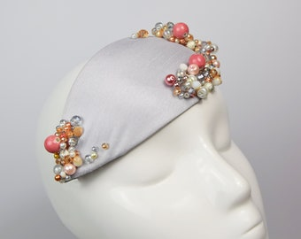 Silver and Pink Fascinator, Women's Beaded Pillbox Hat, Womens Wedding Fascinator, Wedding Hat, Ladies Day, Coral Jewelled Hat, Cocktail Hat