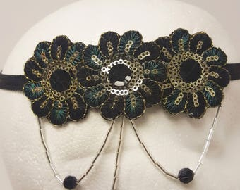 1920's Style Black and Green Headband, Art Deco Headband, Great Gatsby Headdress, Vintage Inspired, Flapper Headband, Sequinned Headband