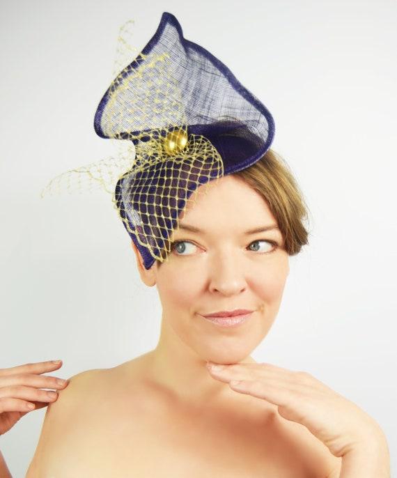 06b5c419333 Ostra  Purple Sinamay Fascinator Gold Veiling Wedding Hat
