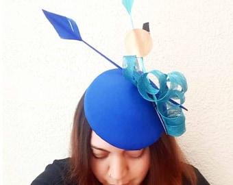 Royal Blue Silk Pillbox Hat with Feather details, Wedding Hat, Percher Hat, Ascot Hat, Designer Millinery, Occasion Hat, Fascinator Hat