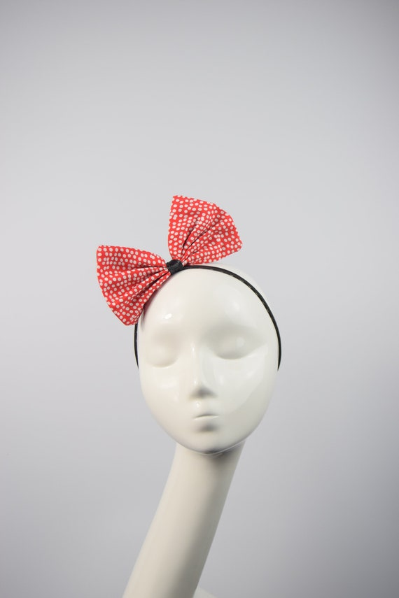 White with red Strawberry print hair bow headband Rockabilly Pin up