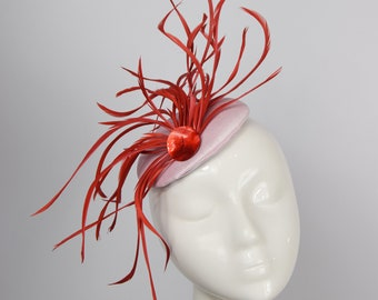Pink and Red Feather Fascinator Hat, Feather Fascinator, Pillbox Hat, Pink Hat, Derby Hat, Ascot Hat, Raceday, Wedding Hat,  Statement Hat