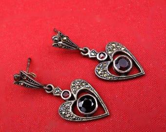 Marcasite Garnet  Heart Earrings, Sterling Silver Earrings, Vintage Marcasite Earrings, Vintage Garnet Earrings,