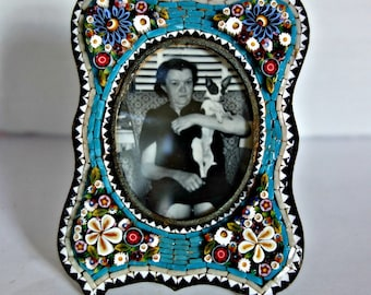 SALE Antique Micro Mosaic Photo Frame, Victorian Mosaic Frame NOW 220 Was 245